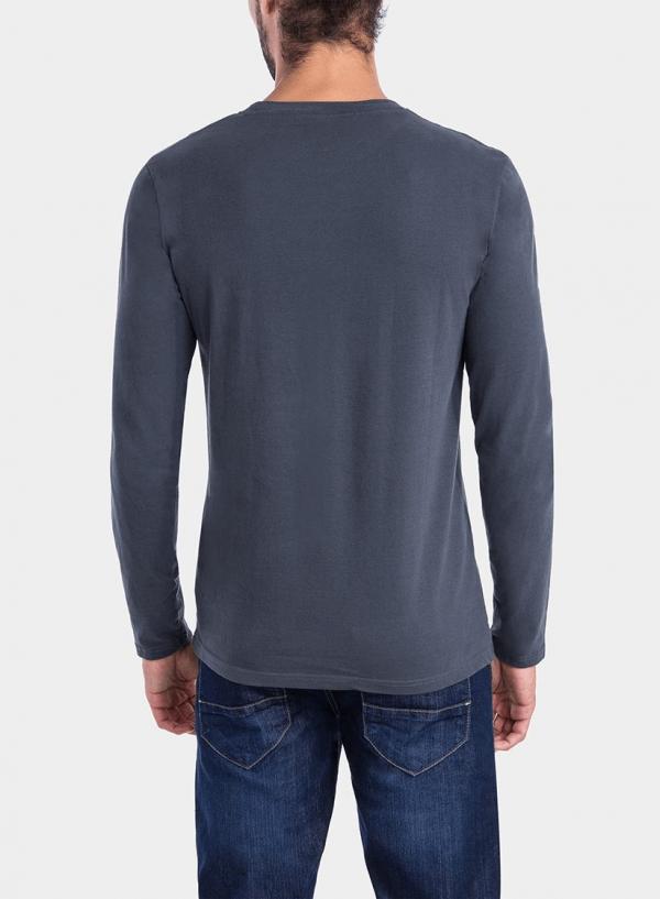 Costas de t-shirt cinza escuro com impressão texto para homem da Tiffosi