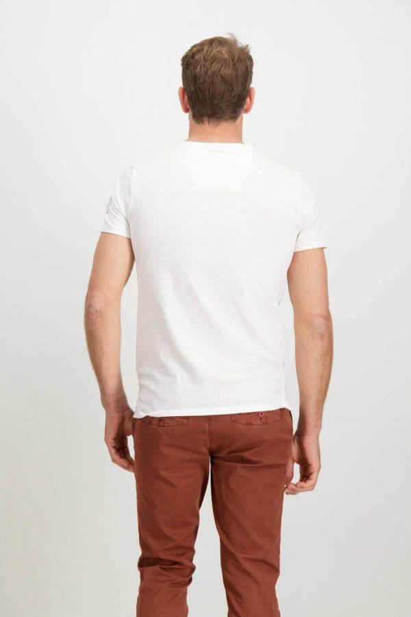 Costas da T-shirt branca bordada para homem da Garcia Jeans