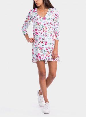 Frente de vestido estampado floral decote em V da Tiffosi