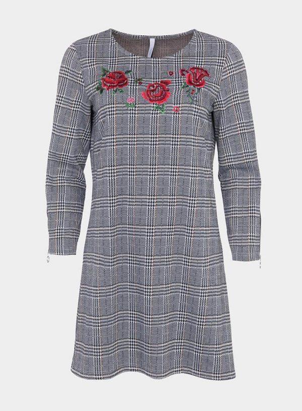 Vestido xadrez com bordado flores, de mulher da Tiffosi
