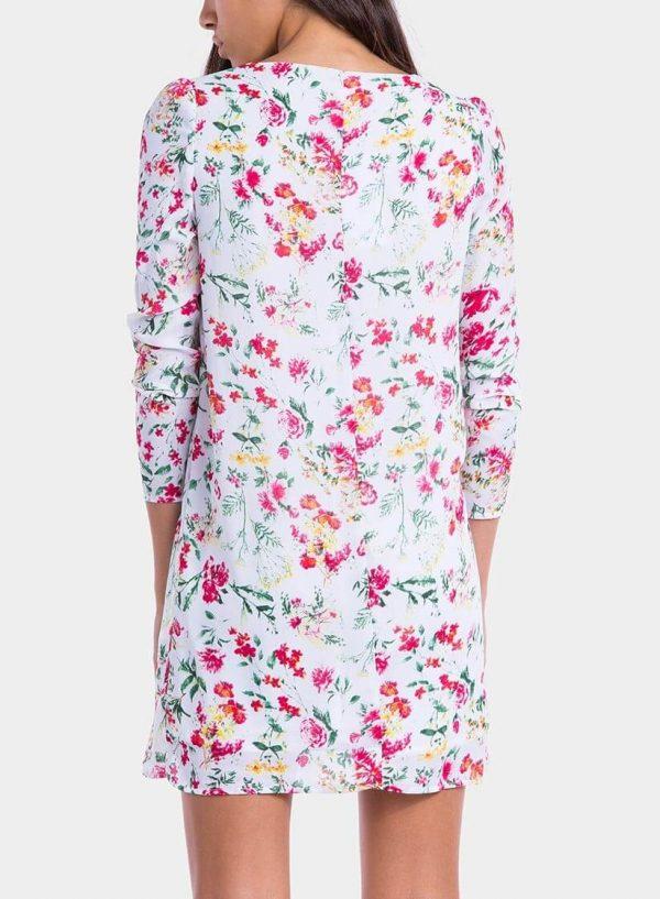 Costas de vestido estampado floral decote em V da Tiffosi