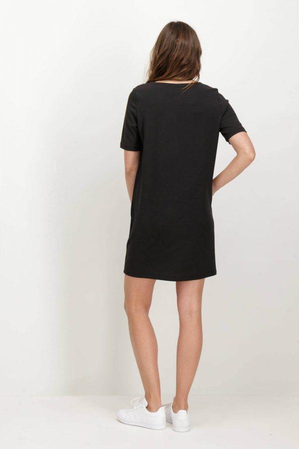 Costas de vestido de malha preta com bolsos da Garcia Jeans