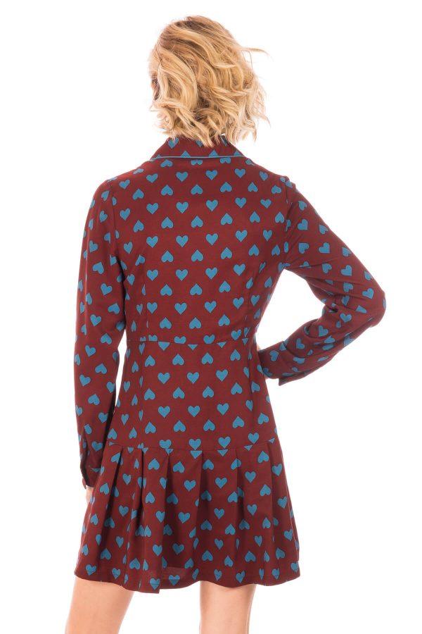 Costas de vestido com pregas em print corações da Minueto