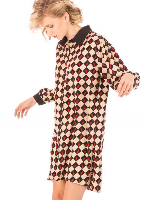 Lateral de vestido estampado com losangos da Minueto para mulher