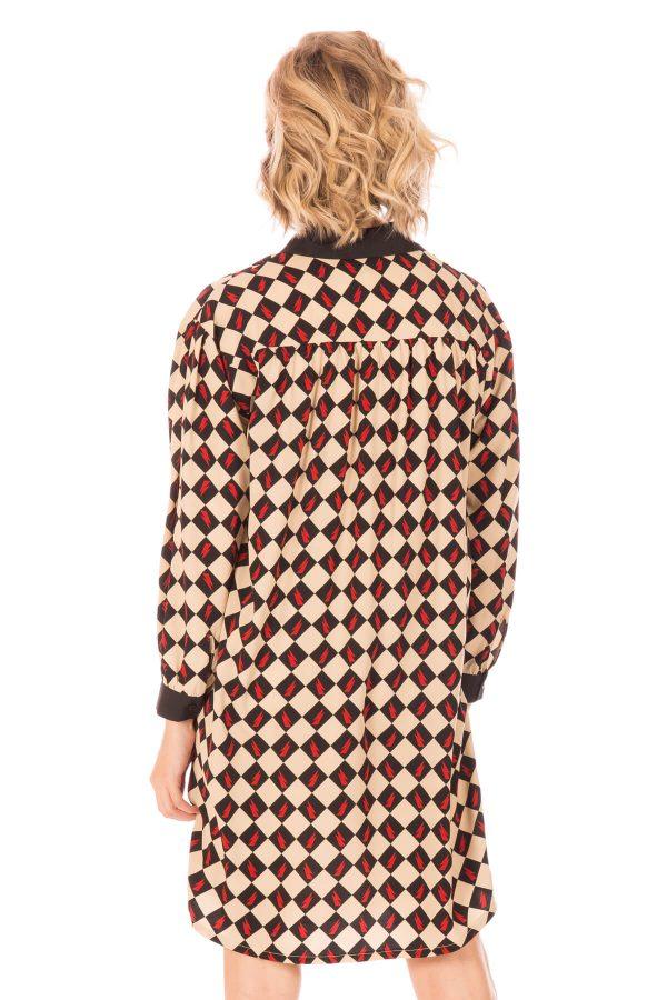Parte de trás de vestido estampado com losangos da Minueto