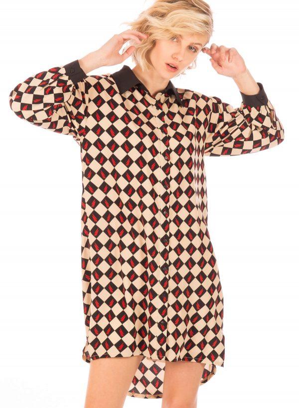 Vestido estampado com losangos da Minueto para mulher
