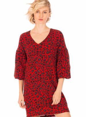 Vestido estampado leopardo vermelho da Minueto