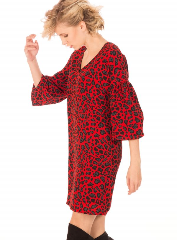 Lateral de vestido estampado leopardo vermelho da Minueto