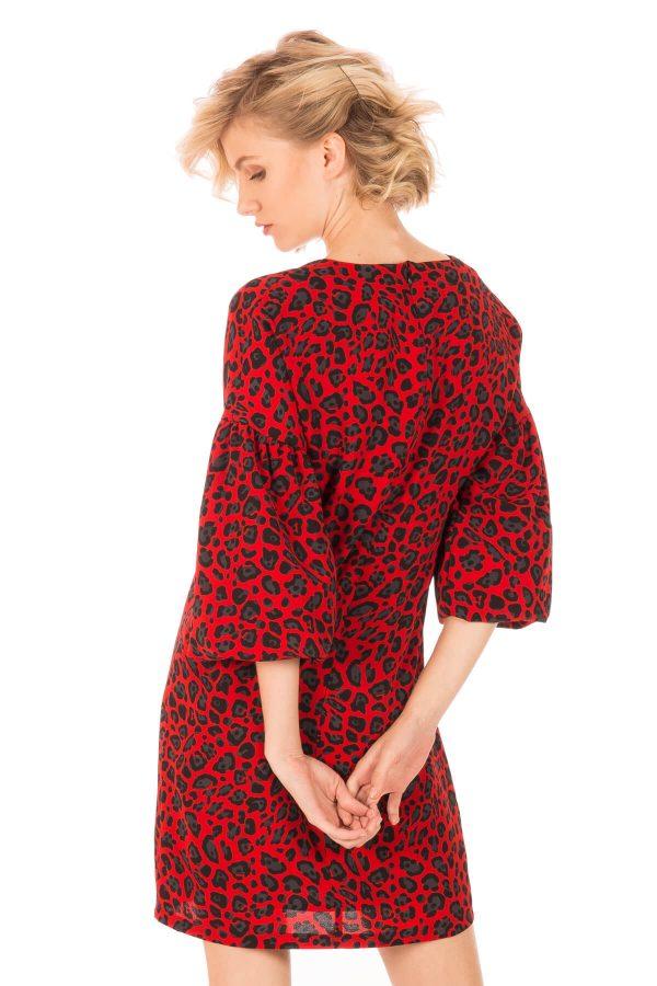 Costas de vestido estampado leopardo vermelho para mulher da Minueto