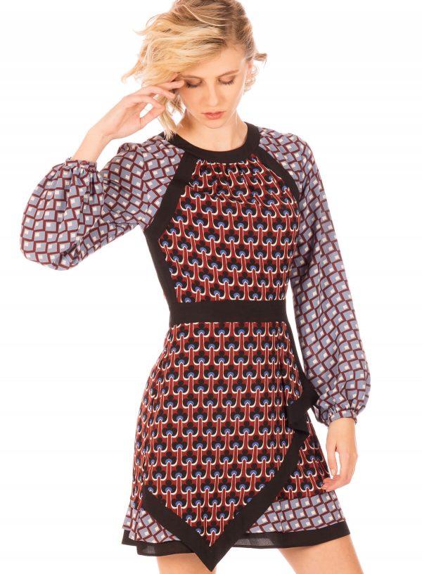 Vestido mix de padrões da Minueto para mulher
