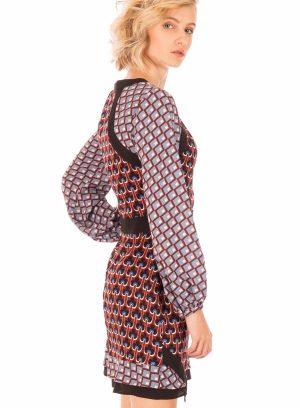Lateral de vestido mix de padrões da Minueto para mulher