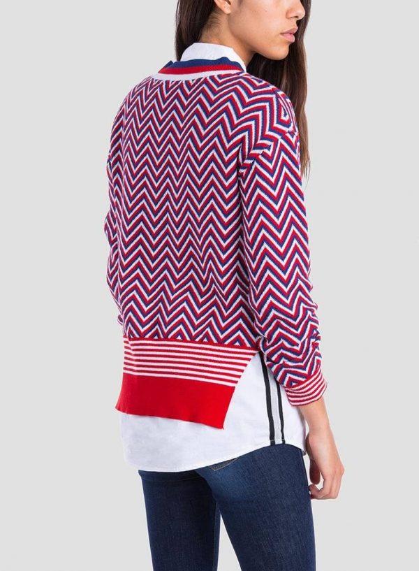 Costas da camisola em espinha tricolor para mulher da Tiffosi