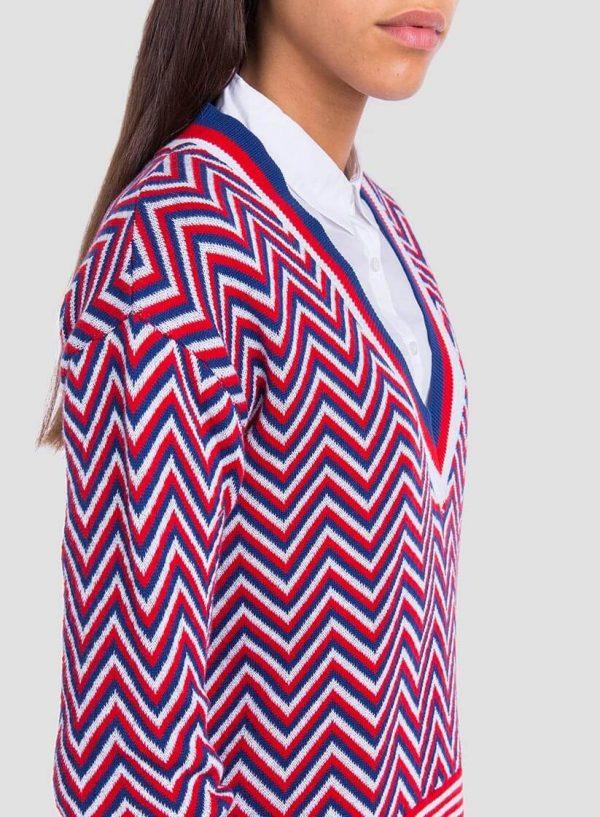Camisola em espinha tricolor para mulher da Tiffosi