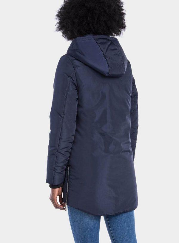 Casaco azul comprido capuz fechos laterais para mulher da Tiffosi