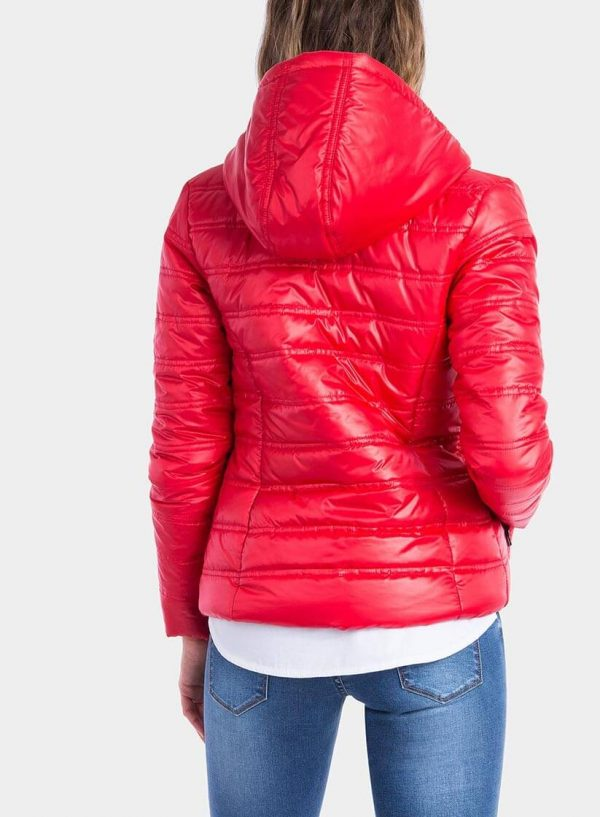 Costas do casaco acolchoado vermelho com bolsa para mulher da Tiffosi