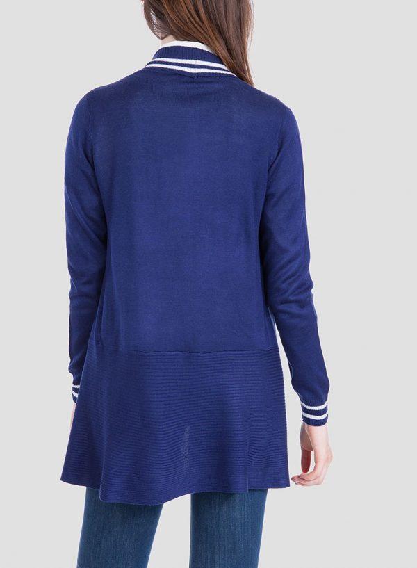Costas do cardigan azul com vivos para mulher da Tiffosi