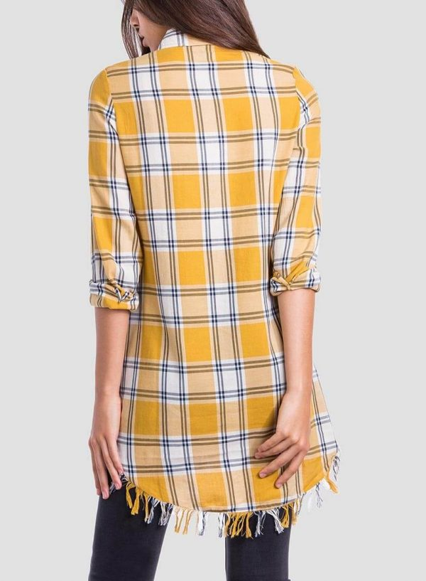 Costas da camisa comprida xadrez bordado floral para mulher da Tiffosi
