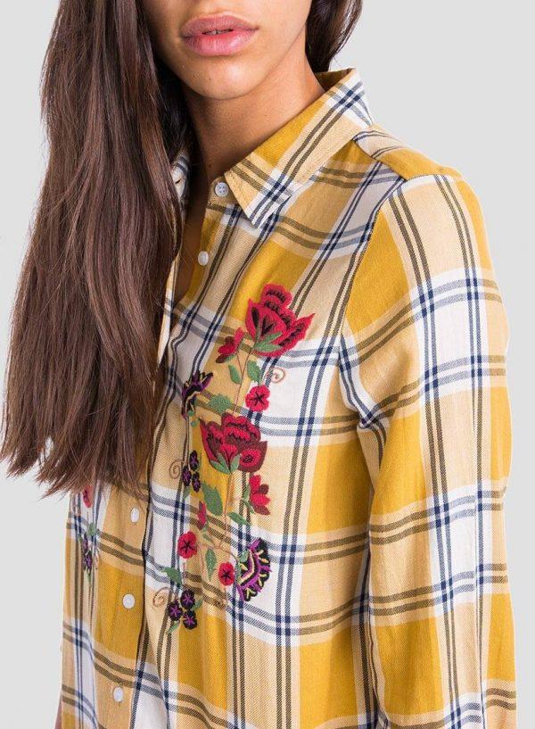 Camisa comprida xadrez bordado floral para mulher da Tiffosi