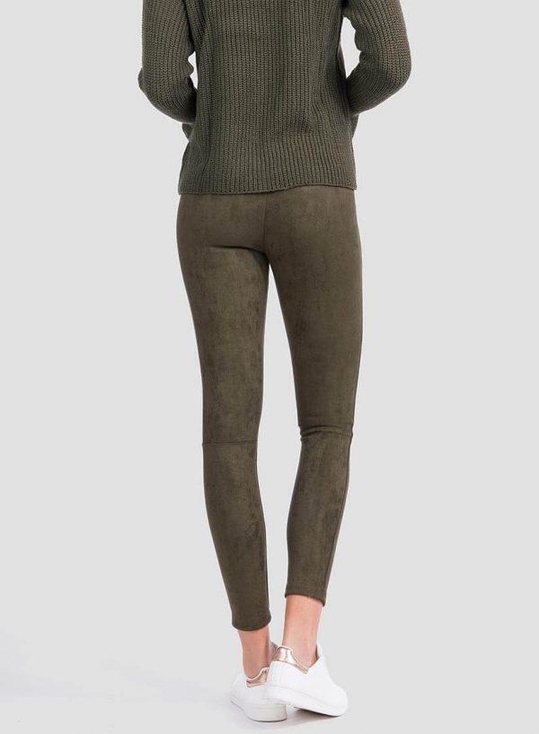 Parte de trás legging efeito camurça verde para mulher da Tiffosi