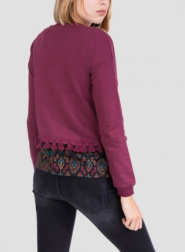Costas da sweatshirt combinada borlas para mulher da Tiffosi