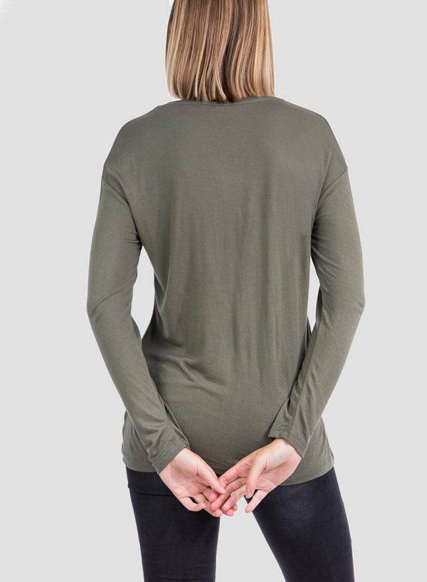Costas da t-shirt kaki com bolso para mulher da Tiffosi