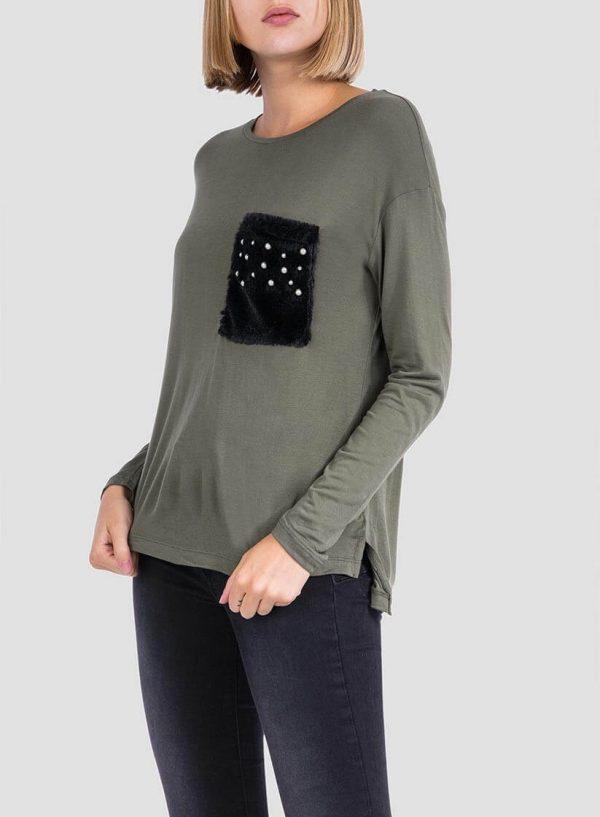 T-shirt kaki com bolso para mulher da Tiffosi