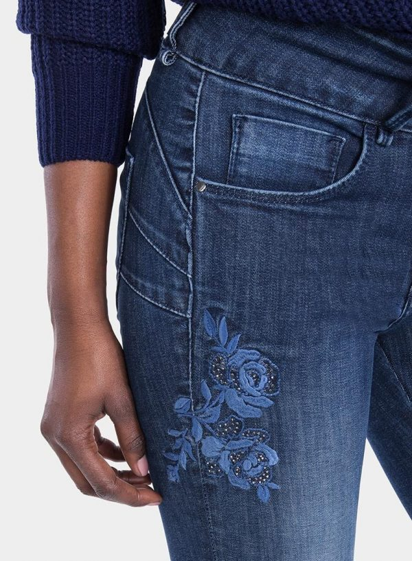 Calças de ganga double-up flor bordada para mulher da Tiffosi