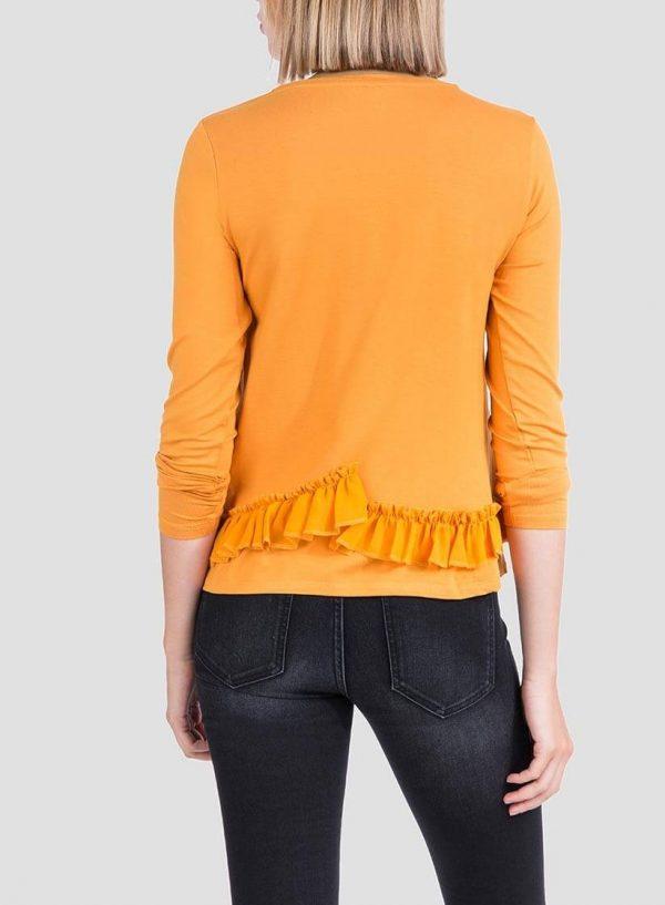 Costas da camisola estampada amarela com folhos para mulher da Tiffosi