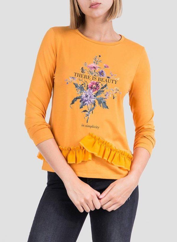 Camisola estampada amarela com folhos para mulher da Tiffosi