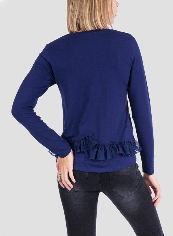 Costas da camisola estampada azul com folhos para mulher da Tiffosi