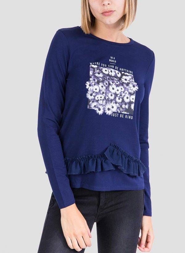 Camisola estampada azul com folhos para mulher da Tiffosi