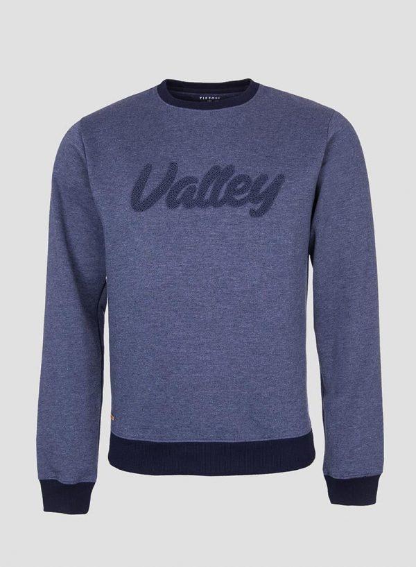 Sweatshirt azul com texto relevo para homem da Tiffosi