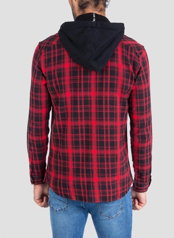 Camisa xadrez com capuz amovível para homem da Tiffosi