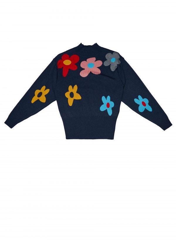 Camisola meia gola com flores para mulher da Md`m