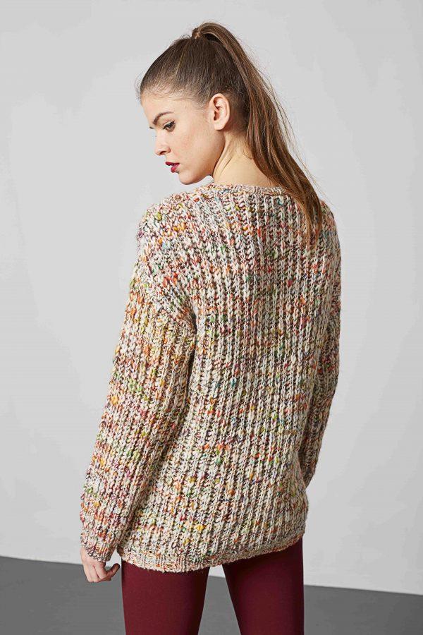 Costas da camisola multicor decote redondo para mulher da Md`m