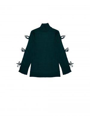 Camisola com abertura na manga em verde para mulher da Md`m