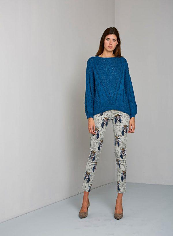 Calça chino com print florido para mulher da Van-Dos