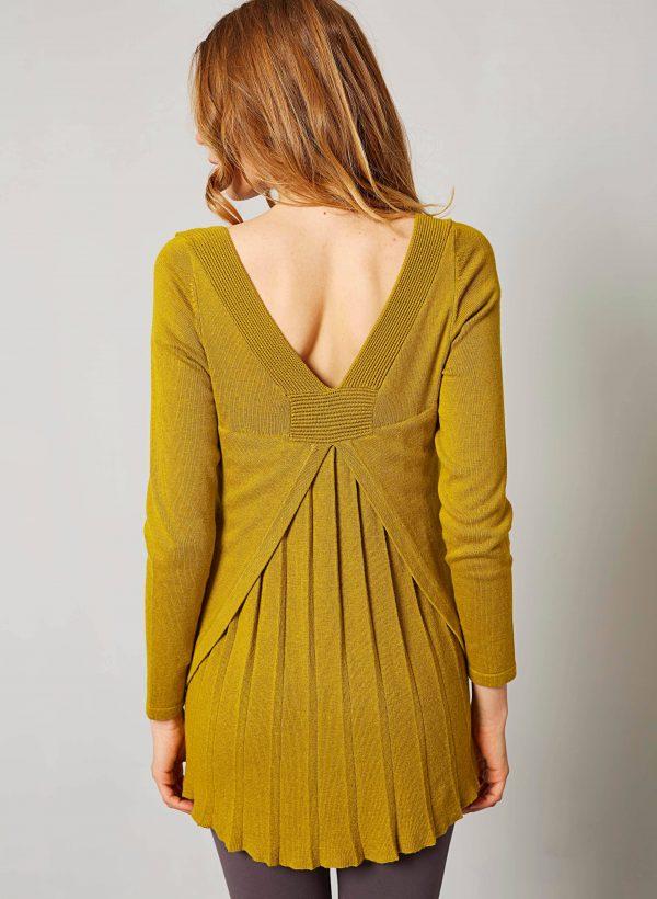 Costas da camisola com plissados na costa para mulher da Van-Dos