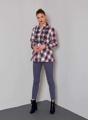 Camisa bordada em xadrez para mulher da Md`m