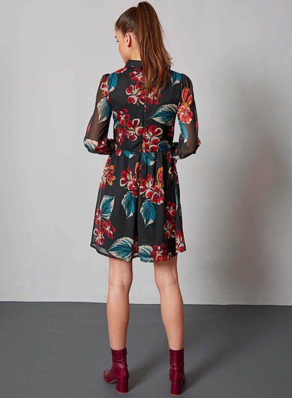 Vestido print floral com gola da Md`m