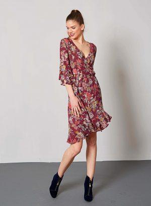 Vestido traçado print floral em bordô da Md`m
