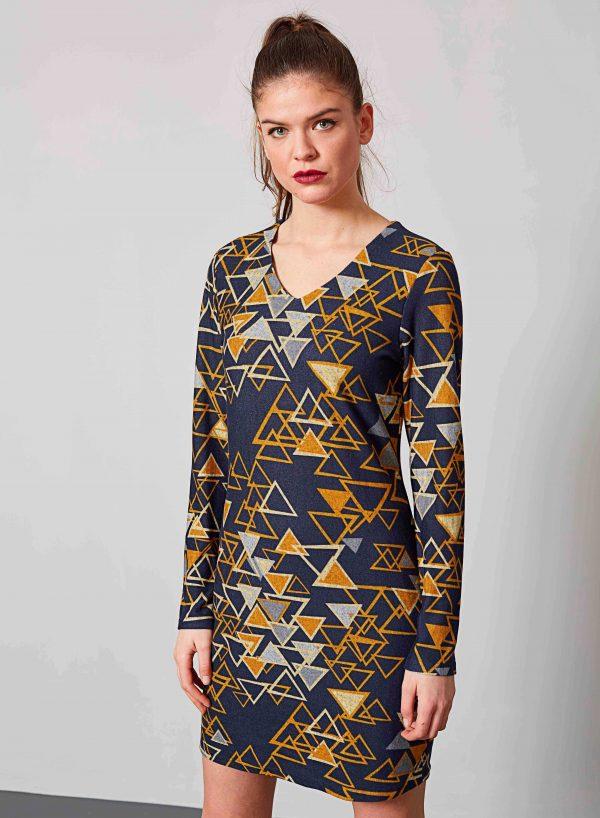 Vestido malha print triângulos da Md`m