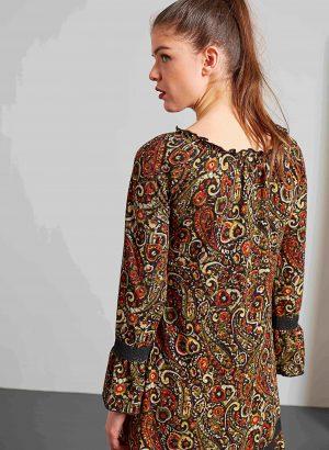 Costas do vestido malha print cornucopias da Md´m