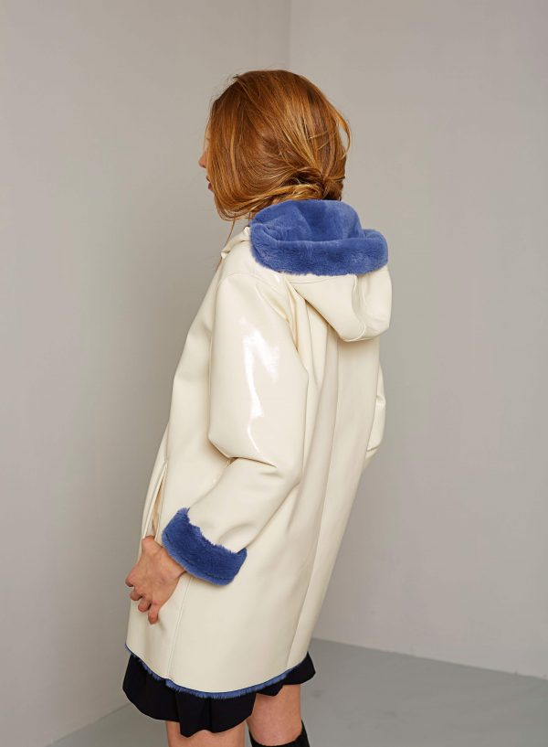 Costas da parka branca com capuz para mulher da Van-Dos