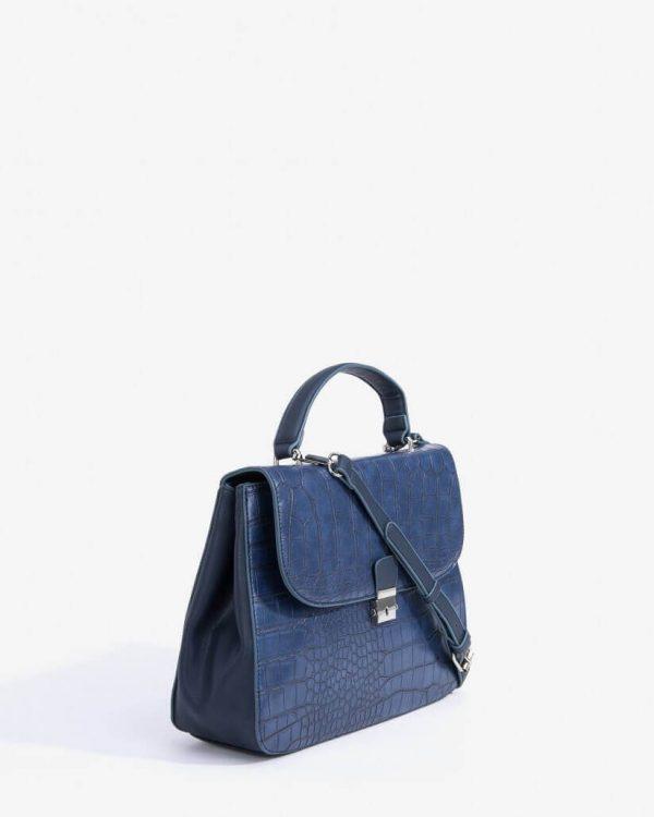 Lateral da city Bag Gravada em azul marino para mulher da Vilanova