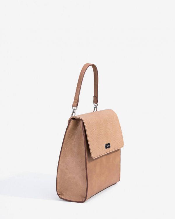 Lateral da mochila com relevo em bege para mulher da Vilanova
