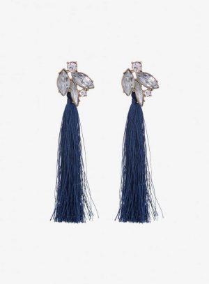 Brincos com franjas azuis escuras da Vilanova