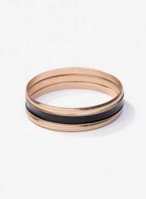 Pack 3 pulseiras preta e douradas da Vilanova