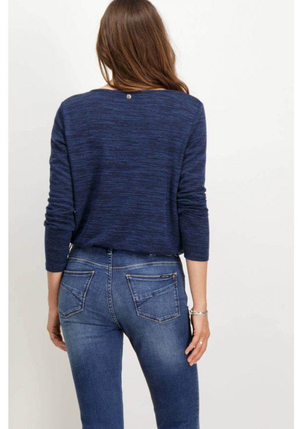 Camisola decote à barco azul para mulher da Garcia Jeans