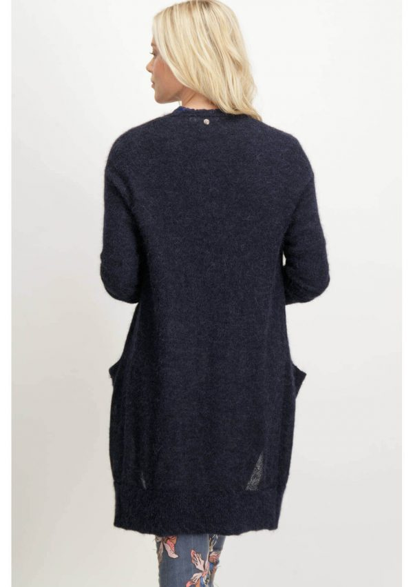 Casaco azul escuro malha alpaca para mulher da Garcia Jeans